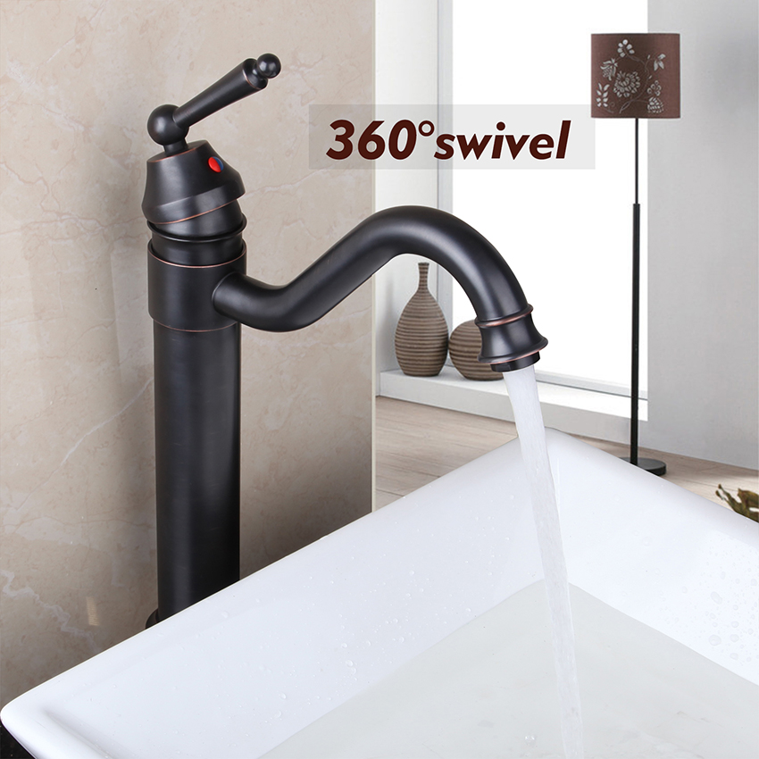 360 Swivel Deck Mounted Single Handle Oil Rubbed Bronze Bathroom Basin Sink Mixer Tap Brass Faucet Kitchen Faucet Water Mixer deck mount countertop bathroom kitchen faucet single handle tall basin sink mixer taps oil rubbed bronze