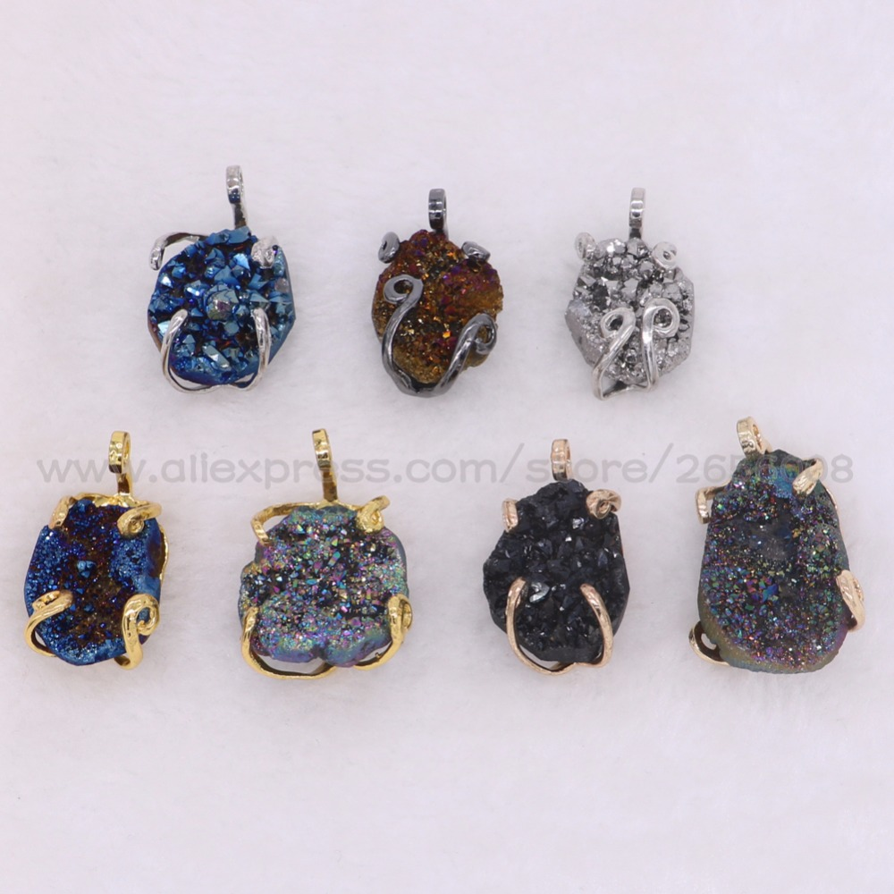 Aliexpress buy natural irregular geode stone pendant mix aliexpress buy natural irregular geode stone pendant mix color druzy stone charm wholesale druzy pendants beads fashion jewelry for women 1861 from mozeypictures Gallery