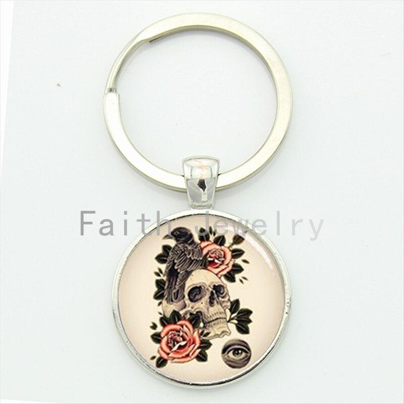 Crow skull key chain antique tone art pattern charming beautiful flowers keychain handmade festival gift KC562