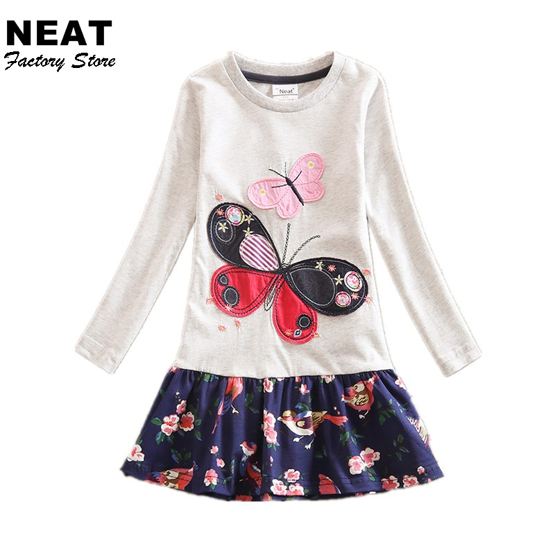 2-8Y Retail Dresses For Girls Pink Gray Cartoon Kids Dress For Baby Summer Girl Clothes Princess Party Dresses LH5460 H5460 Mix