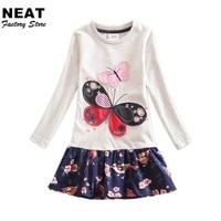 Retail 4 8Y 2016 Neat Brand Dress Baby Girl Cartoon Children Lace Tutu Party Fashion Princess