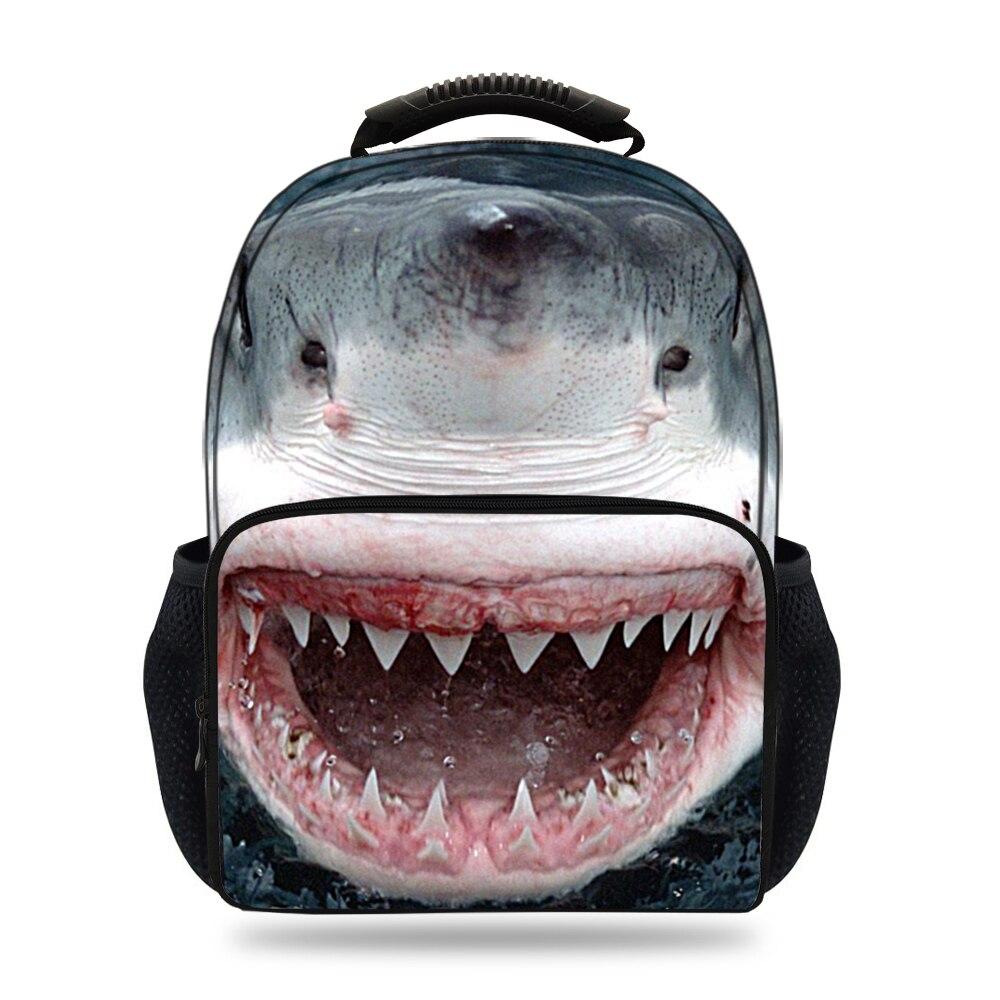 Nouveaux enfants 3D animaux requin imprimé sacs à dos pour hommes sacs d'école filles et garçons ordinateur portable/ipad épaule sacs à dos adolescents femmes