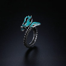1 PCS Ancient Silver Opening Dragon Ring New Fashion Adjustable 925 Sterling Luminous Glow in the Dark Unisex Gift Jewelry(China)