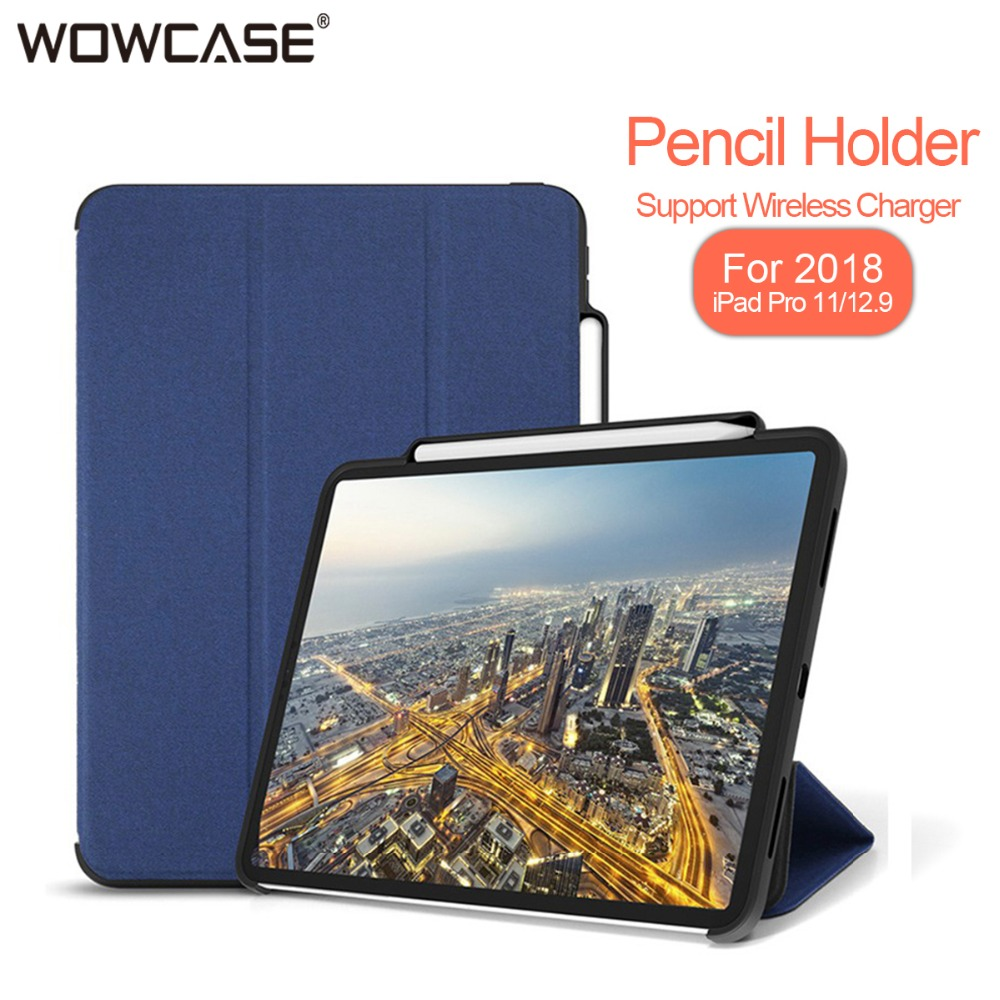 "For iPad Pro 11 inch 2018 Case Pencil Holder Business Cloth Pattern Leather Tri-Fold Smart Flip Cover For iPad 11"" Cases Funda"