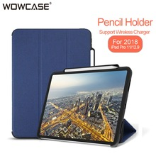 For iPad Pro 11 inch 2018 Case Pencil Holder Business Cloth Pattern Leather Tri-Fold Smart Flip Cover For iPad 11″ Cases Funda