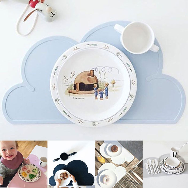 Waterproof Cloud Shaped Baby Kids Plate Mat Table Mat Set Home Kitchen