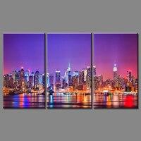 3 قطعة شحن مجاني رخيصة الحديثة جدار اللوحة قماش الفن ديكور المنزل الفن مدينة ليلة الرؤية صورة الطلاء للعيش غرفة