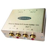 3-CH Passiva Splitter distribuidor de áudio Estéreo RCA de Áudio Analógico Estéreo de isolamento de Áudio divisor Hi-Fi de Áudio Splitter