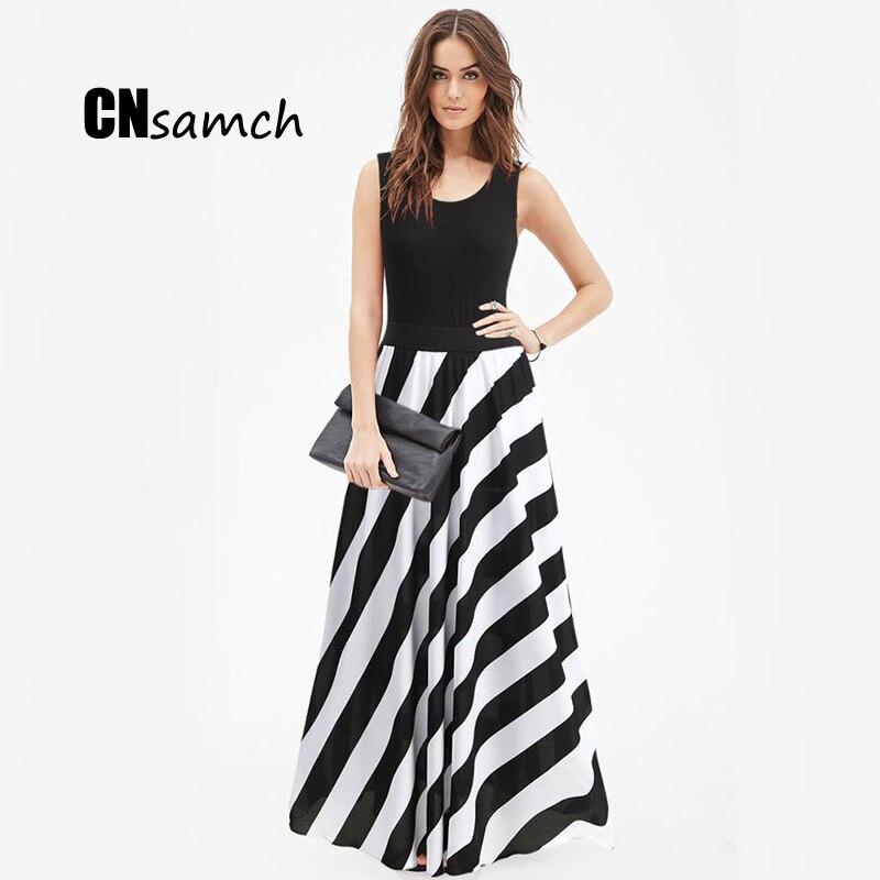CNsamch Summer Women Clothes 2017 New European American Female Vest Maxi Dresses Ladies O neck Sleeveless