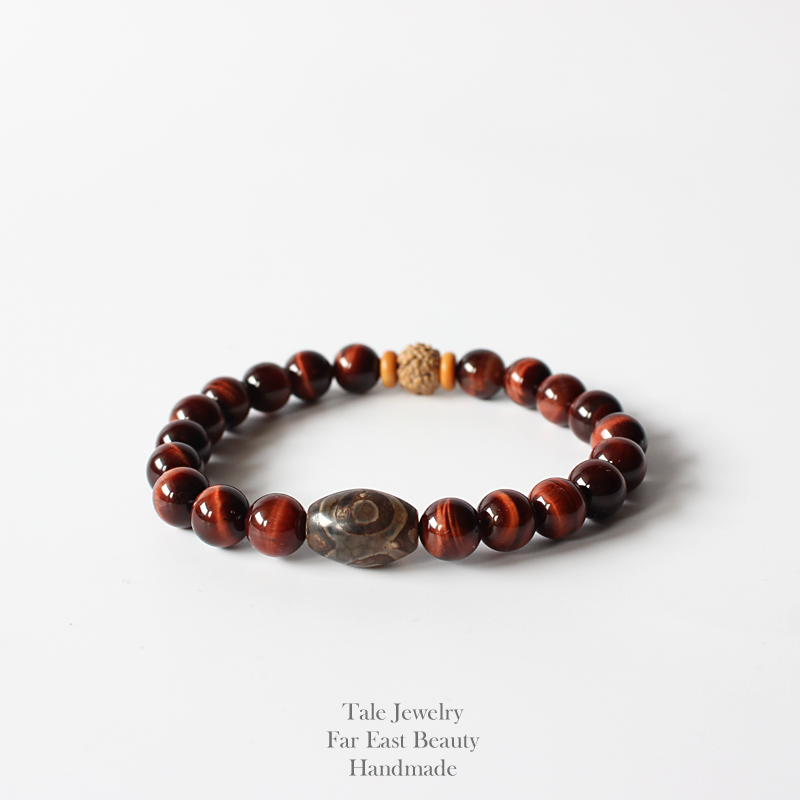Venta al por mayor natural Ojo de Tigre rojo Cuentas piedra tibetana Rudraksha Cuentas estiramiento pulsera para hombres mujeres Yoga chakra joyería