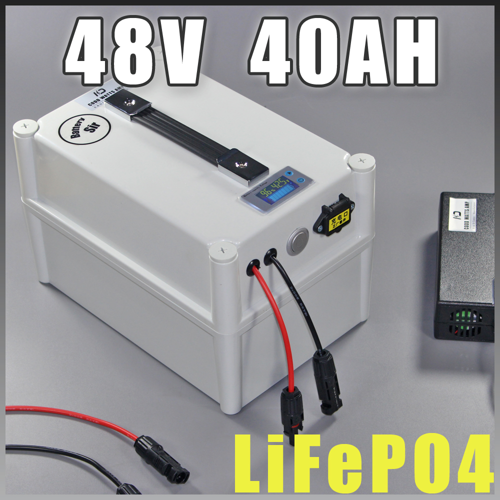 48V 40Ah LiFePO4 Protable battery , 2000W Electric Bicycle Battery + BMS Charger 48v lithium scooter electric bike battery pack 48v 3000w electric bike battery 48v 40ah samsung electric bicycle lithium ion battery with bms charger 48v battery pack 48v 8fun page 1