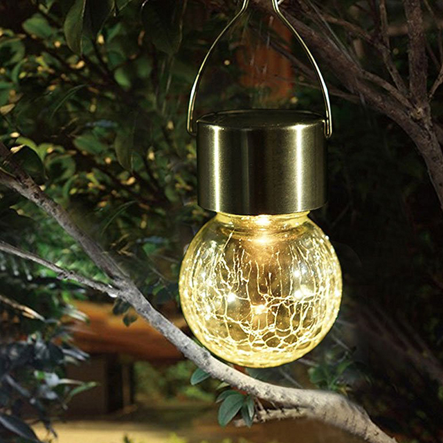 4Pcs/lot Hanging Crystal Ball LED Solar Lamp Outdoor Waterproof Holiday  Christmas Solar LED Light