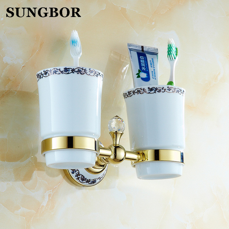 Wall Mounted Bathroom Double Ceramic Cup Holder Toothbrush Tumbler Holder Chrome Gold Finish Bathroom Accessories GJ-5603K leyden luxury gold finish blue crystal double cup tumbler holder brass wall mounted toothbrush tumbler holder bathroom accessory