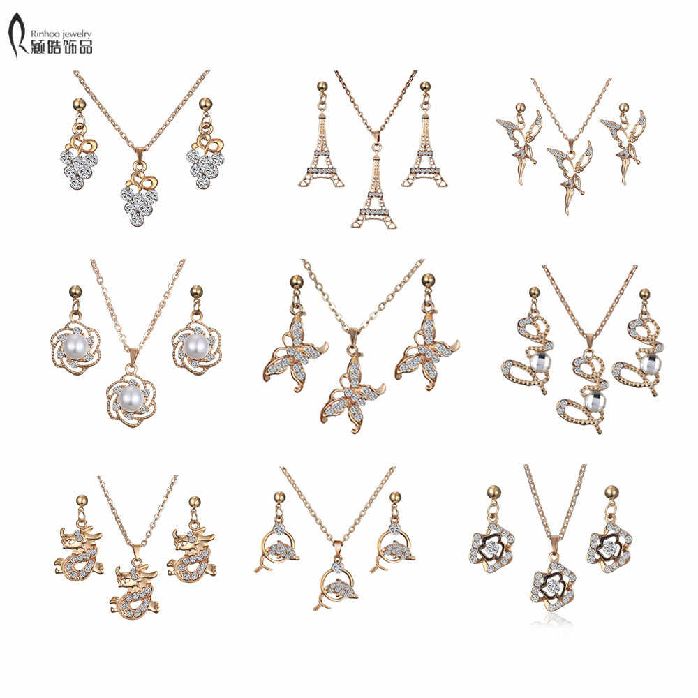 Vintage love Gold butterfly dolphin Jewelry Sets Crystal Love Statement Necklace & Drop Earrings for Women Wedding Jewelry Set