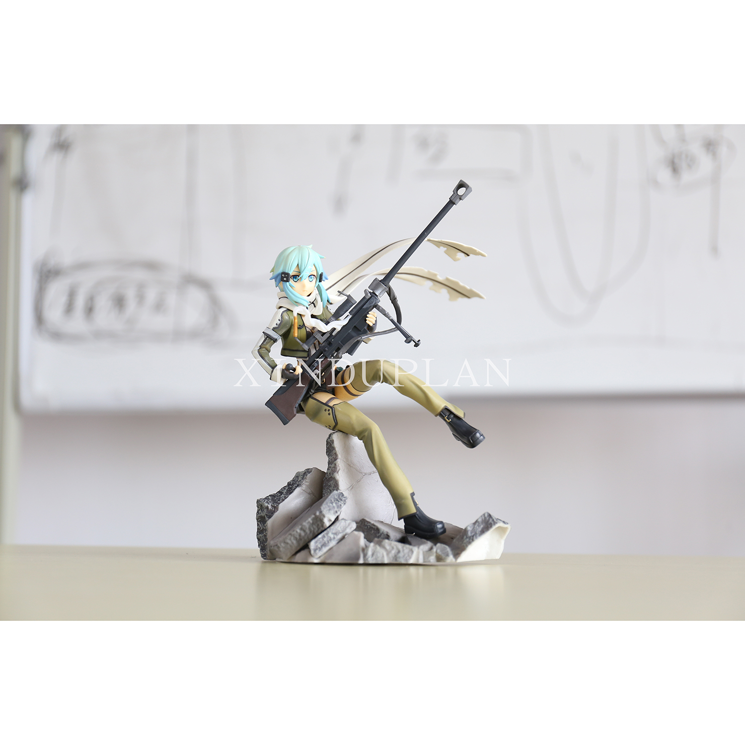 XINDUPLAN Sword Art online SAO Anime Asada Shino Kirito Asuna Espada Action Figure Toys 22cm PVC Kids Gift Collection Model 0446 sword art online action figure figma shino kazuto asuna pvc 150mm toys anime sword art online series