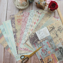 24sheets 12 DIY Ride A Bicycle To Zoo Retro style Design Gift Wrapping Paper Creative Craft Handmade Scrapbooking Set