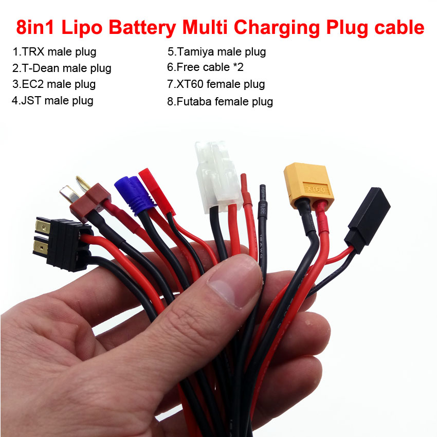 8in1 multi-fuction lipo battery charging cable JST T-DEAN XT60 EC2 plugs for IMAX B6 Balance Charger