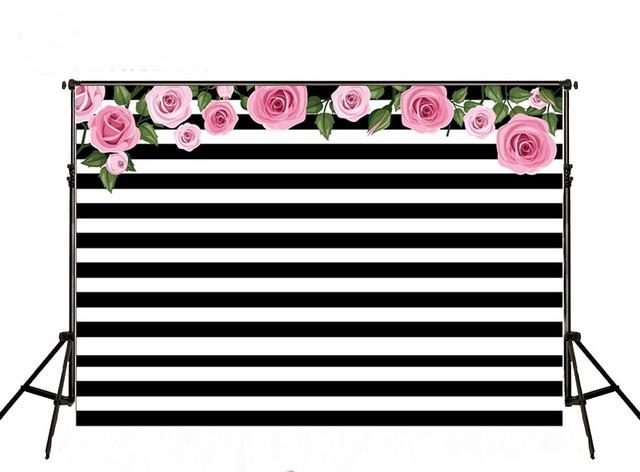 Zwart Wit Vinyl : D roze rose bladeren zwart wit streep studio achtergrond vinyl