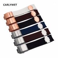 Carlywet 22mm (20mm 버클) 고무 시계 밴드 블랙 브라운 화이트 방수 곡선 엔드 실리콘 고무 시계 밴드 실버 버클