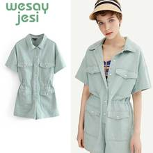 Women elegant short sleeve solid playsuits pocket design elastic waist rompers ladies vintage sweet casual jumpsuits