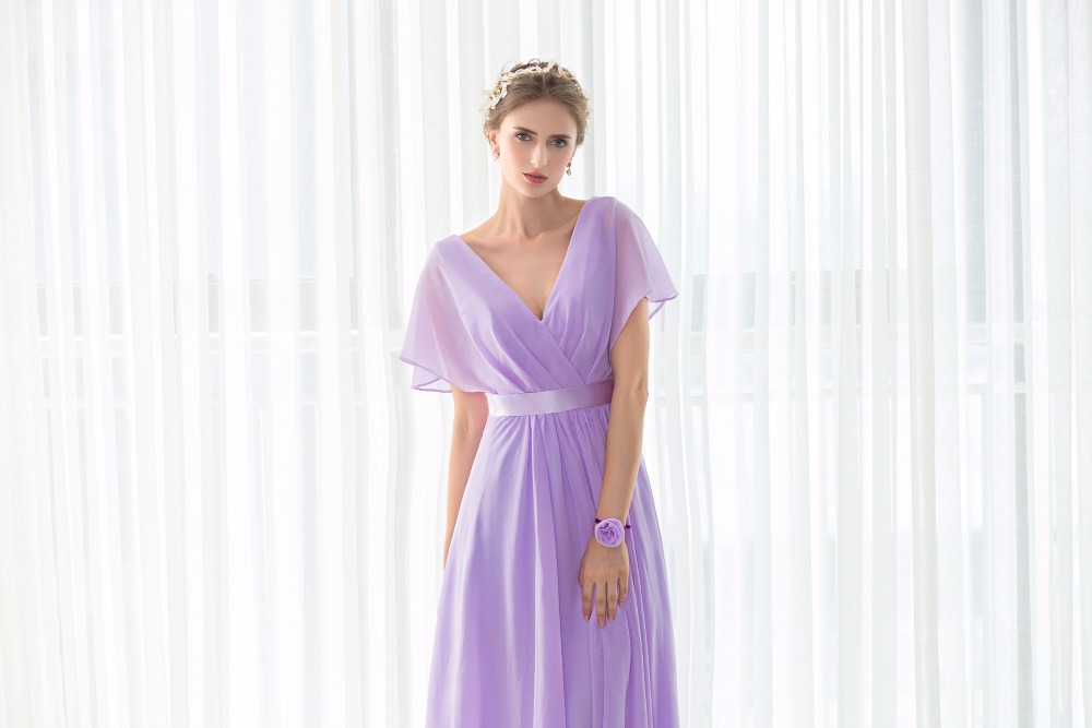 Real Pictures robe honneur Long Lilac Bridesmaid Dresses Short Sleeves V neck Floor Length Chiffon Bridesmaid Gown Free Shipping 8
