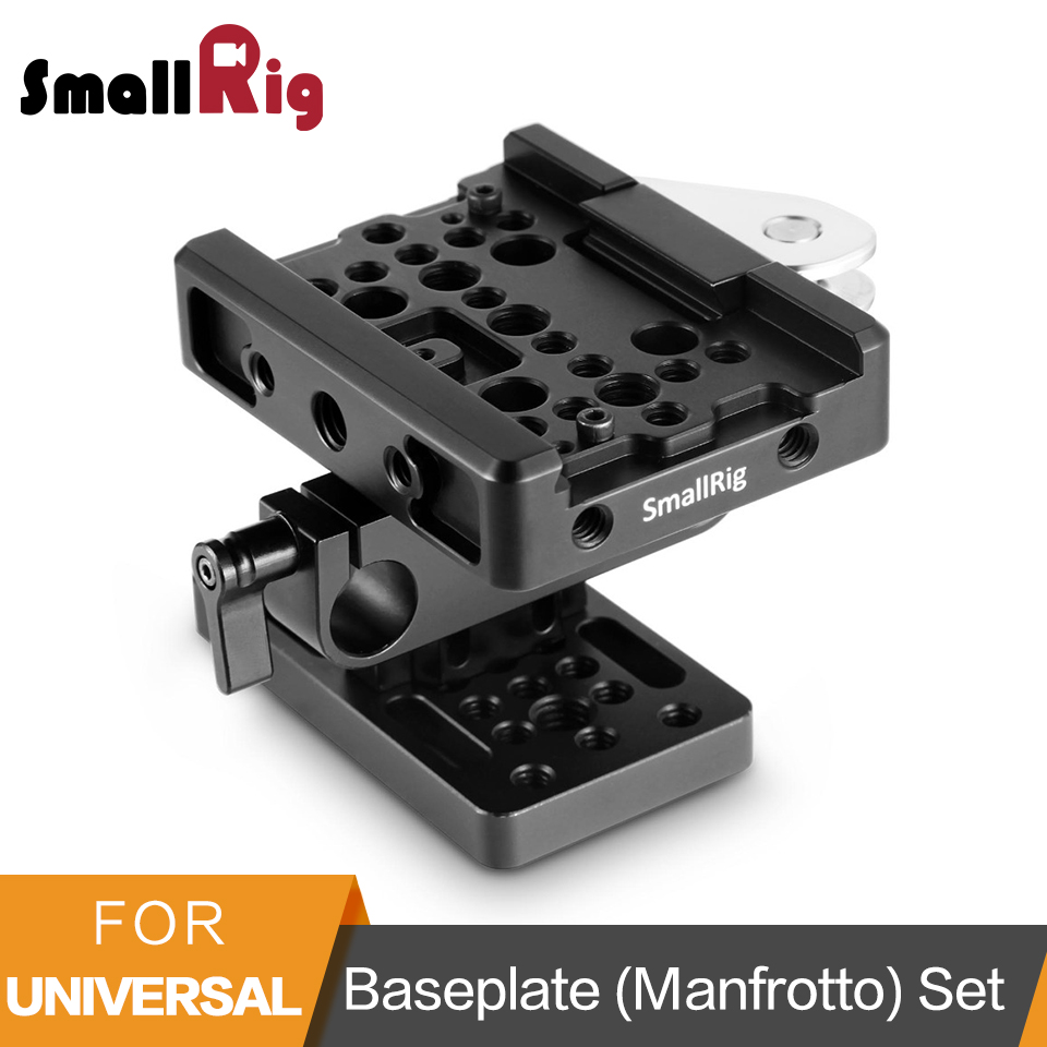 SmallRig Camera Baseplate (Manfrotto) + 15mm Rail Support System Quick Release Plate Set To Mount DSLR Camera Cage-2039