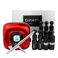 OPHIR Аэрограф для ногтей набор 5 разноцветный гель для ногтей лак металлический трафарет основа для ногтей пальто и верхнее покрытие инструм