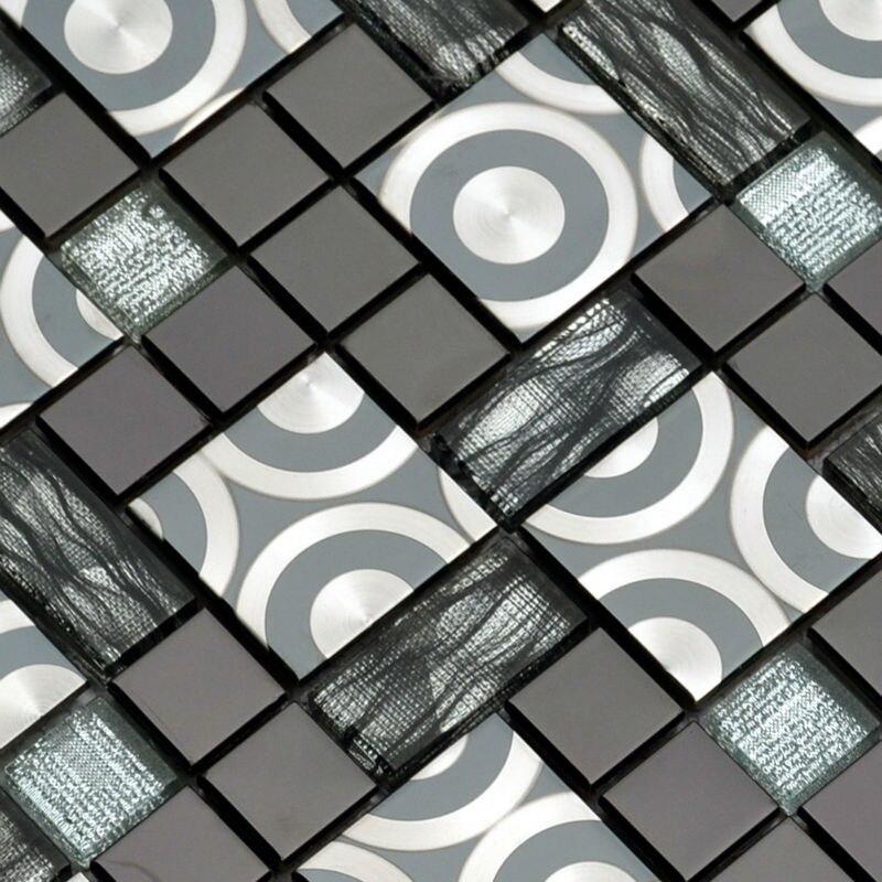 Black Silver Stainless Metal Crystal Glass mosaic tile mosaic ...