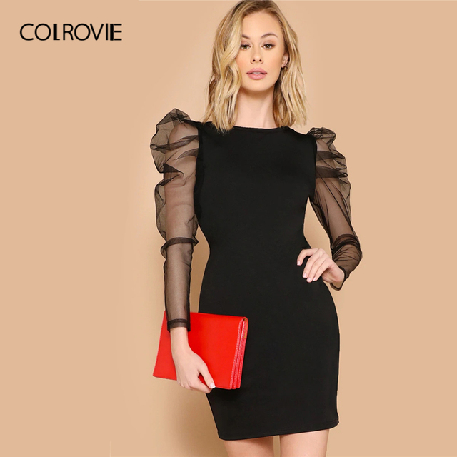 COLROVIE Black Mesh Gigot Long Sleeve Sheer Bodycon Elegant Dress Women 2019 Spring Slim Fit Mini Party Office Ladies Dresses
