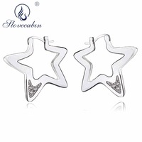 Slovecabin 925 Sterling Silver Sparkling Minimalist Stud Earrings CZ Geometric Star Earrings Jewelry Accessories Christmas Gift