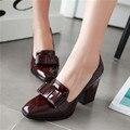 Tamaño grande 34-43 Nuevo 100% REAL PHOTO de alta bombas de los tacones dedo del pie cuadrado de cuero genuino zapatos de las mujeres de las señoras negro Sexy chaussure femme