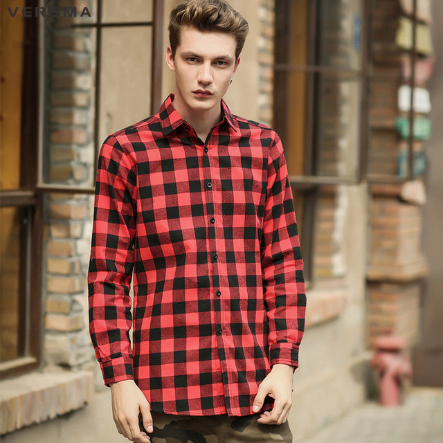 Overhemd Rood Zwart.Versma 2017 Hip Hop Casual Dubbele Slider Rits Rood Zwart Plaid