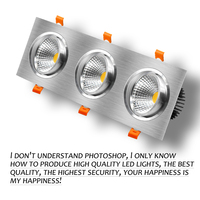 High CRI 3Heads Square LED Recessed Downlight Dimmable 15W 21W 30W 36W Ceiling Spot Light 3000K/4000K/6000K Home Decoration