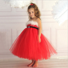 2018 New Arrival Girls Red Dress Shoulderless Party Mesh TUTU Christmas