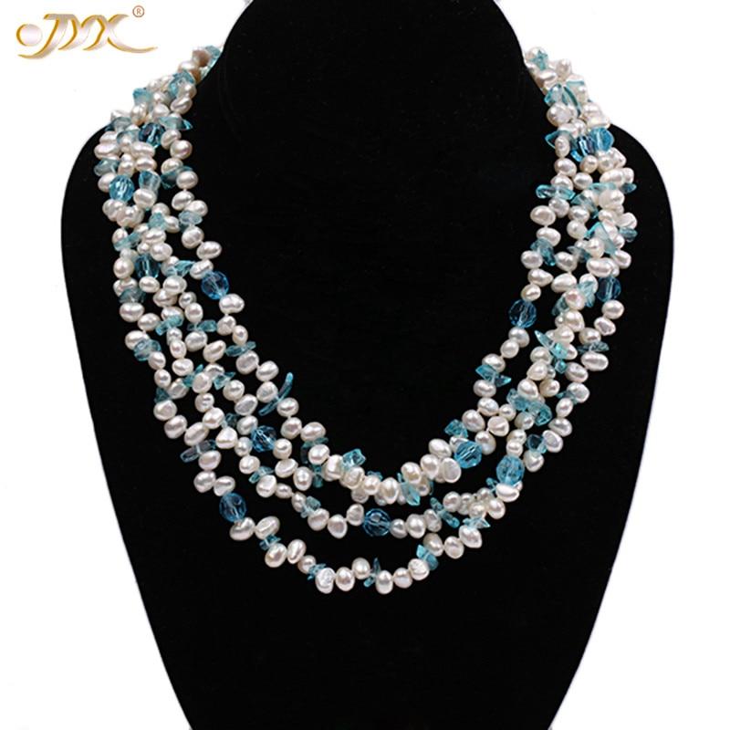 JYX style classique collier de perles naturelles 2 cordes façons porter 6mm perle d'eau douce avec cristal bleu 36