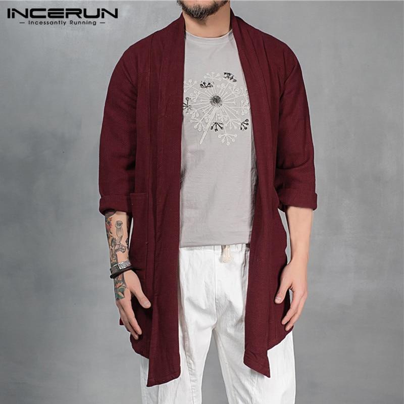 Hiphop Streetwear Men's   Trench   Long Sleeve Outwear Cardigan Cloak Irregular Hem Loose Pockets Coat Solid Casual Retro Jackets