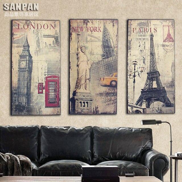 Amerikanischen Industriellen Stil Gebäude Holz Kombination Café Rahmenlose  Gemälde Dekorative Malerei Wohnzimmer Sofa Hintergrund