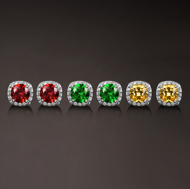 Sterling Silver 925 Stud Earrings for Women Fine Jewelry Citrine Fireworks Cut Square Blue Wedding Engagement Party Gift