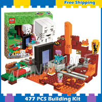 477pcs My World The Nether Portal Lava flow Function 10812 Model Building Blocks Toys Bricks Compatible with Lego Minecrafted