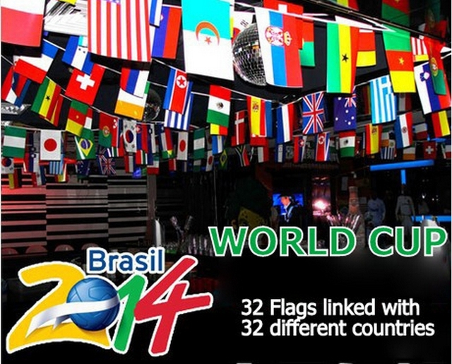 2014 World Cup bar banners 32 string flags of the word /flags of - word flag