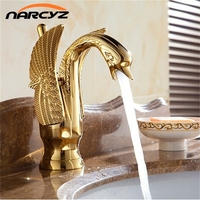New Design Basin Faucets Swan Faucet Gold Plated Wash Basin Faucet Hotel Luxury Copper Gold Mixer Taps hot and cold Taps XT821