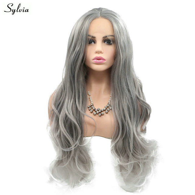 Sylvia Grey To Pastel Blonde Hair Tips Synthetic Lace Front Wig Soft