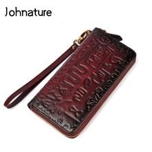 Johnature 2020 yeni Vintage hakiki deri çiçek kabartma fermuar uzun kadın el cüzdan bayanlar el çantası debriyaj cüzdan