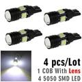 4pcs/Lot T10 W5W Car Light COB Lens LED 4 smd 5050 leds 12V Tail Side Coner Lamp Light Bulb