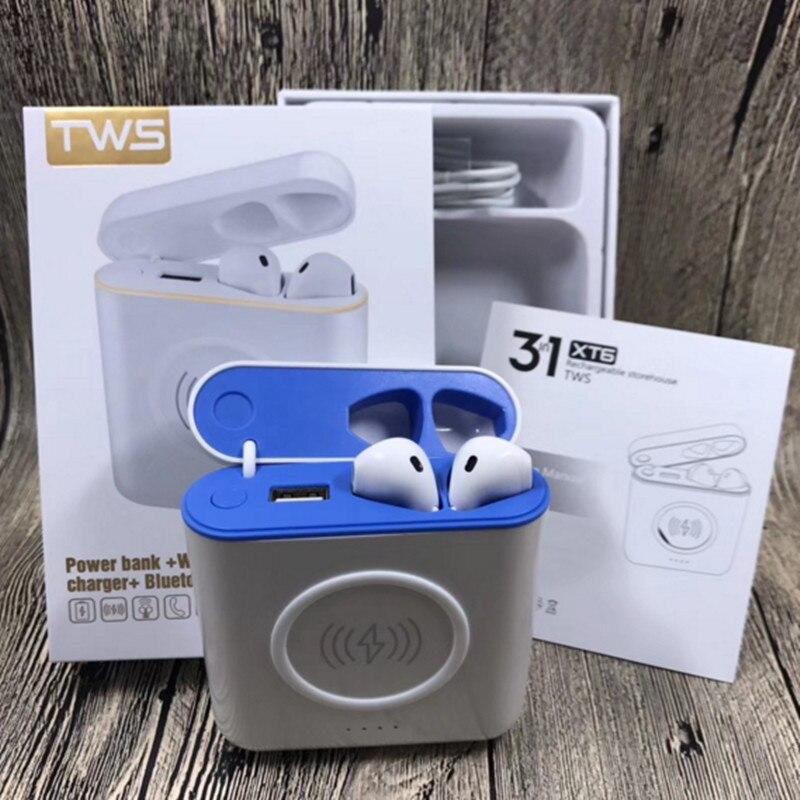 Newst XT6 TWS 3 en 1 Bluetooth casque sans fil écouteur avec Charge sans fil avec Charge filaire Powerbank Pk I7S I8X I9S