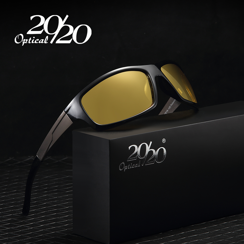 20/20 New Night Vision Solglasögon Män Brand Designer Designer Polarized Night Driving Förbättrad Light Anti-Glare Glasögon PL295