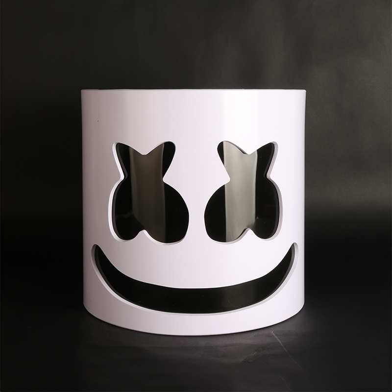 Flash Type!!!PVC Marshmallow Helmet DJ Marshmallow Mask Concert Props Future Bass Music Fans Prop Bars Prop Without LED marshmello mask
