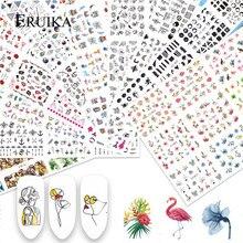 12 Designs Nail Art Sticker Flor Verde Dos Desenhos Animados Folha Tranfer Água Decalques para Unhas Beleza Flocos Deslizante Tatuagem Da Arte Do Prego Decoração