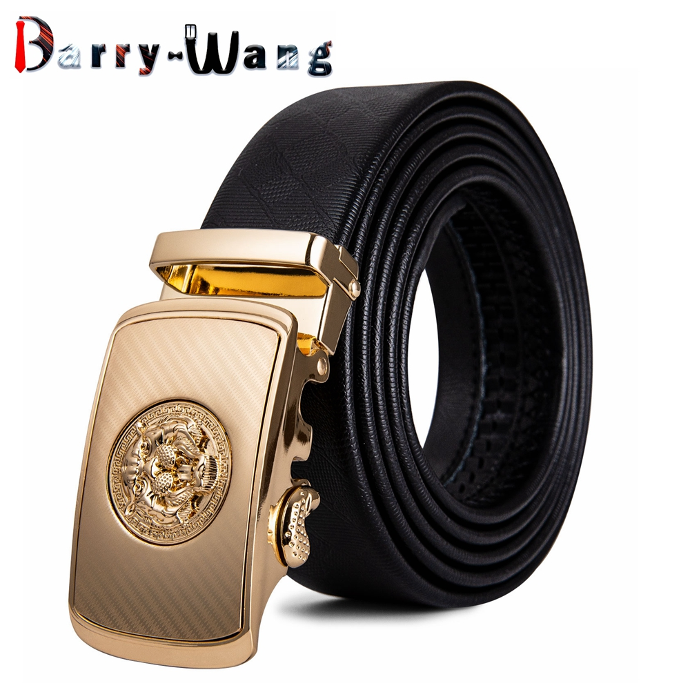 Barry.Wang Mens Ratchet Belt with Automatic Buckle Black Cowhide Leather 10 Designs