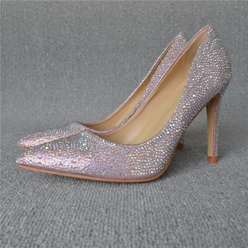 Sexy À Pompes Orteils Point Bas Front Hauts Cristal Mariage 10 5cm Partie De Chaussures Stiletto Coloré Talons Talon tfZqw7x
